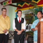 Senator Pangelinan (far right) speaks during the opening of Jamaican Grill's northern restaurant on November 16, 2011. To Senator Pangelinan's immediate right Frank Kenney and his right Tim Murphy, co-owner's of the Jamaican Grill  restaurants, Guam.