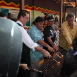 Senator Pangelinan (center) during the Grill Lighting Ceremony at the Jamaican Grill northern resturuant.