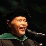Senator Vicente Pangelinan deliver's his speech during the 2011 UOG Fall Commencement Ceremony
