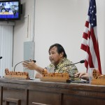 Senator Pangelinan speaks to the Chamorro Land Trust Commission Board
