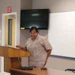 Senator Pangelinan stops by UOG on Feb. 21, 2012 and speaks on criminal justice focused on the police commission.